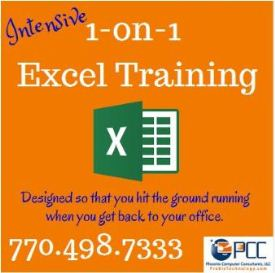 Customized Excel 1-on-1 Training - Atlanta, GA and online.